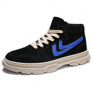 Hidden Taller High Top Sneakers Black Leather Elevator Skate Shoes Increase 3inch / 7.5cm
