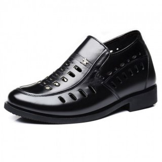 Hollow Out Hidden Heel Dress Shoes Slip On Perforated Elevator Formal Oxfords Taller 3.2inch / 8cm