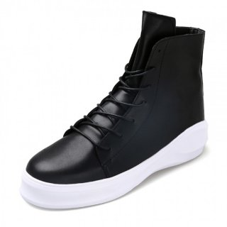 Retro Stylish Hidden Heel Ankle Boots 3.4inch / 8.5cm Black-White Elevator Chukka Boots