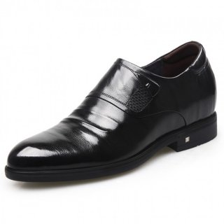 Embossed Stripe Zip Elevator Dress Shoes Black Slip On Heel Lifts Formal Shoes Taller 2.6inch / 6.5cm