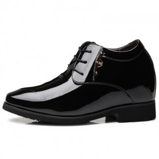 Celebrity 4 inch Taller Tuxedo Shoes Plain Toe Elevator Wedding Dress Shoes Increase Height 10cm
