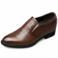 2018 Stylish Slip On Elevated Dress Shoes Height 2.6inch / 6.5cm Brown Croc Print Formal Loafers