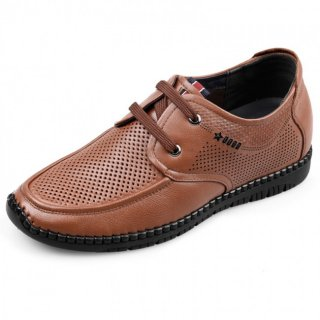 Summer Elevator Driving Shoes Red-Brown Soft Sole Leather Sandals Height 2.4inch / 6cm