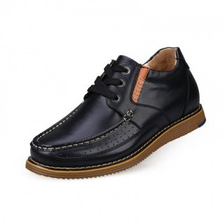 Black full-grain calf leather casual hidden height shoes that make you tall 6cm / 2.36inches