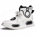 Fashion Taller Street Hip Hop Sneakers White High Top Board Shoes Height 3.2inch / 8cm