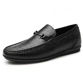 2019 Comfort Elevator Driving Loafers Black Ostrich Hidden Lift Boat Shoes Taller 2.2inch / 5.5cm