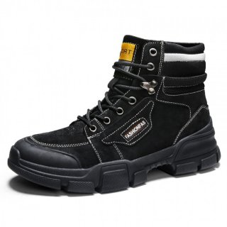 Black Height Increasing Military Boots Breathable Lace Up Work Boot Gain Taller 3.2inch / 8cm