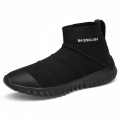 High Top Elevator Socks Shoes Black Slip On Flyknit Fashion Sneakers Height 7cm / 2.8inch
