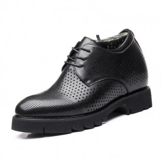 Summer Elevator Shoes Perforated Dress Oxfords Make You Look Taller 4inch / 10cm