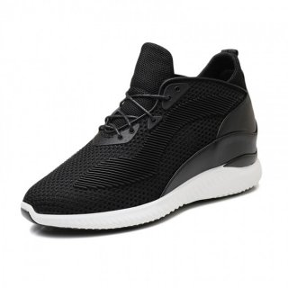 Hollow-out Elevator Sneakers Extra Height Knit Fabric Walking Shoes Taller 4inch / 10cm