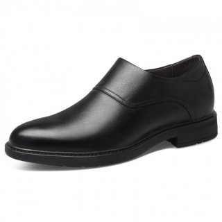 Black Elevator Zip Dress Shoes Plain Toe Formal Business Loafers Increase Height 2.6inch / 6.5cm