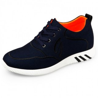 Lightweight Elevator Fabric Shoes Height 2.4inch / 6cm Blue Lace Up Casual Shoes