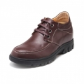 Fashion Brown Cow Leather Taller Casual Shoes Get Height 6.5cm / 2.56inch