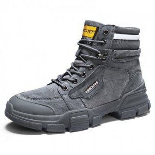 Grey Height Elevator Military Boots Breathable Lace Up Work Boot Get Taller 3.2inch / 8cm
