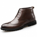 Classic Brogue Elevator Dress Boot Brown Formal Wing Tip Boots Tall 2.6inch / 6.5cm