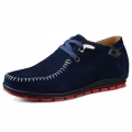 Dark blue suede leather lace-up casual shoes make you height 6cm / 2.36inches