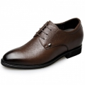 2018 Premium Soft Leather Elevator Dress Shoes 2.6inch / 6.5cm Brown Height Men Business Shoes