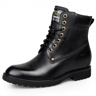 Elegant hidden heel martin boot increase height 7cm / 2.75inch black elevator combat boots