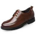 Brown Height Increasing Casual Shoes Cow Leather Business Shoes Add Altitude 2.6inch / 6.5cm