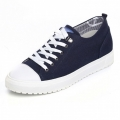 Korean elevator canvas shoes height gain 6cm / 2.36inch blue lace up sneakers