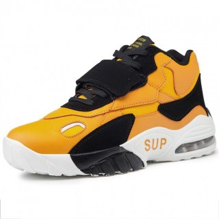 Yellow Height Increasing Men Basketball Shoes Velcro Air Cushion Sneakers Taller 3.2inch / 8cm