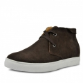 Coffee elevator men shoes add tall 6cm / 2.36inches suede leather lace-ups shoe