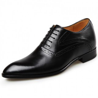 Perfect Elevator Wedding Shoes Add Taller 2.6inch / 6.5cm Black Luxury Men Formal Dress Shoes