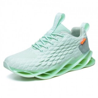 Green Fish Scales Height Sneakers Soft Lightweight Flyknit Jogging Shoes Add Taller 2.8inch / 7cm