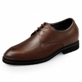 Lightweight Elevator Formal Shoes Brown Glossy Leather Oxford Taller 2.6inch / 6.5cm