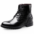Height Increasing Motorcycle Boot Side Zip Combat Boots Woolen Elevator Dress Boot Tall 2.6inch / 6.5cm