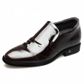 Glossy Patent Leather Elevator Shoes Reddish Brown Perforated Formal Loafers Height 2.6inch / 6.5cm