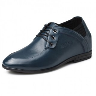 UK business casual elevator shoes 8cm / 3.15inch Blue taller office shoes