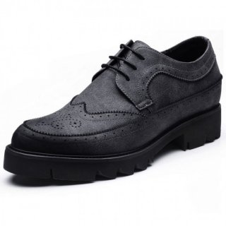 Classic British Brogue Shoes Add Altitude 3.2inch / 8cm Gray Elevator Gentlman Business Shoes