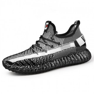 2019 Black-White Elevator Knitted Trainers Lightweight Walking Shoes Taller 2.4inch / 6cm