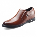 Low-Top taller formal cotton shoes 6.5cm / 2.56inch brown slip on dress shoes