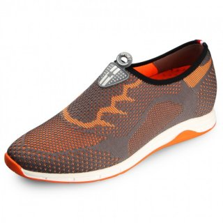 Trendy flyknit shoes gain tall 6cm / 2.36inch lightweight orange slip on casual shoes