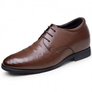 Brown height lace-up formal dress shoes add taller 8cm / 3.15inches British derby shoes