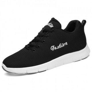 Black Fashion Elevator Tennis Shoes Breathable Knit Mesh Walking Shoes Height 2.6inch / 6.5cm
