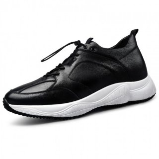 Black-white Cowhide Elevator Sneakers Classic Casual Sports Shoes Height 2.6inch / 6.5cm