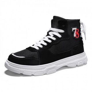 Black High Top Elevator Plimsolls Shoes Canvas Skateboarding Shoes Add Taller 3.4cm / 8.5cm