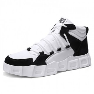 Black Elevator Casual Sports Shoes High Top Platform Sneakers Increase Taller 2.8inch / 7cm