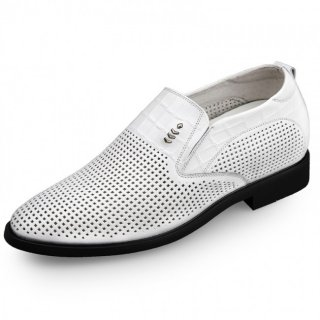 White Elevator Formal Loafers Soft Cowhide Men Business Shoes Height 2.6inch / 6.5cm