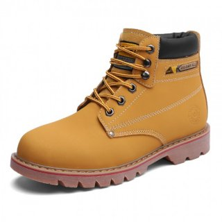 Unisex Height Elevator Chukka Boot Yellow Leather Spacious Toe Work Boots Increase 3.2inch / 8cm
