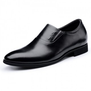 Elegantly Elevator Business Loafers Black Slip On Tuxedo Shoes Taller 2.4inch / 6cm