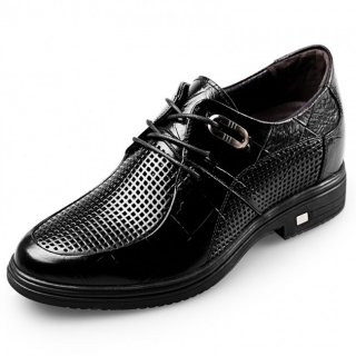 Breathable Extra Taller Business Sandals Lace Up Cowhide Leather Shoes Increase 3.2inch / 8cm