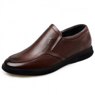 Comfortable Slip On Elevator Shoes Brown Genuine Leather Driving Shoes Height 2.2inch / 5.5cm