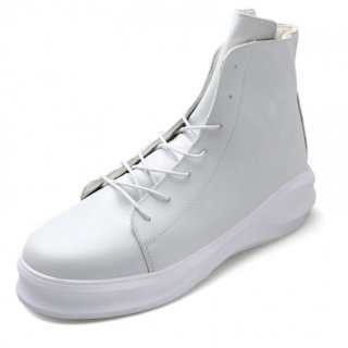 Retro Stylish Hidden Heel Elevator Ankle Boots 3.4inch / 8.5cm White Height Increasing Chukka Boots