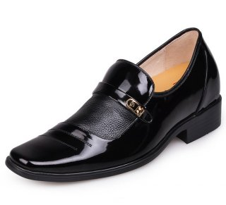 Patent leather men taller shoes 7cm/2.75inch height increasing shoes