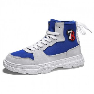 Blue High Top Lift Plimsolls Shoes Canvas Elevator Skateboarding Shoes Height 3.4cm / 8.5cm