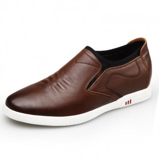 Comfort Height Increasing Skate Shoes Brown Soft Calfskin Slip On Casual Shoes Altitude 2.4inch / 6cm